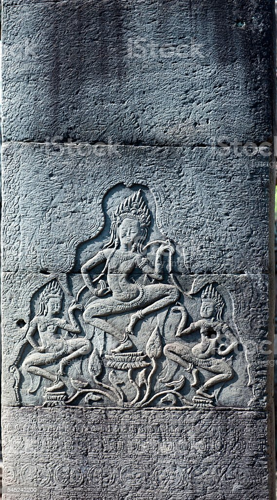 Stone carvings on wall at angkor wat stock photo more pictures