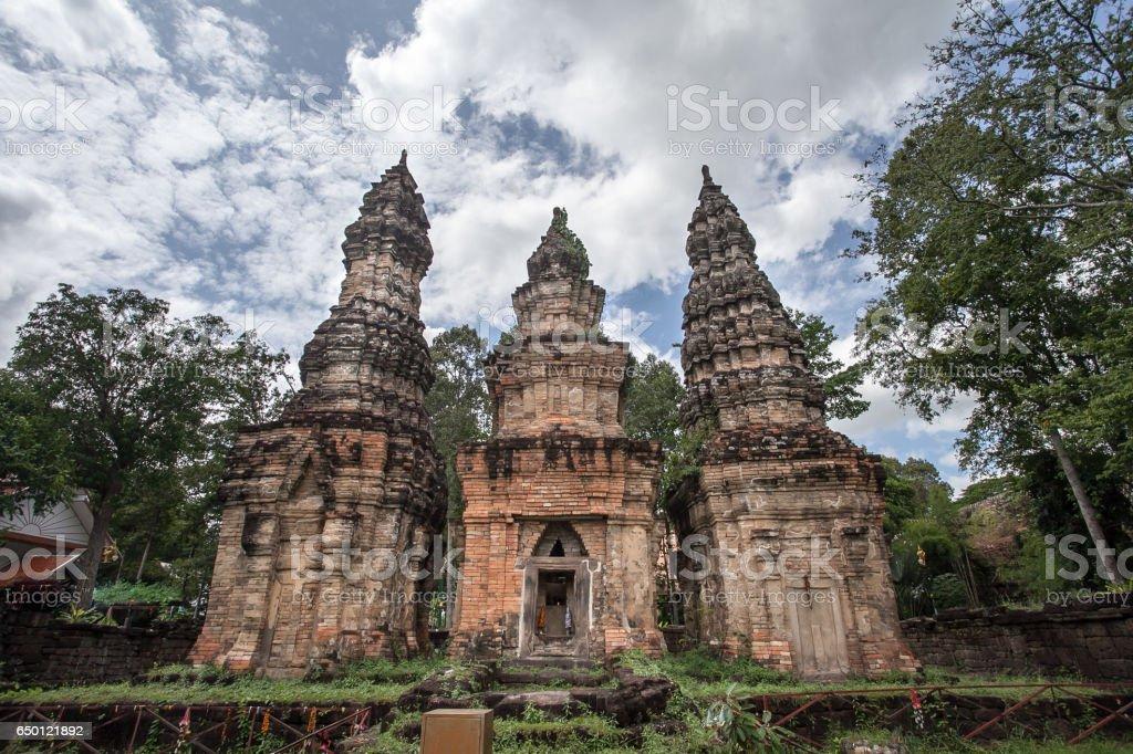 Stone castle at Ban Pra Sart castle stock photo