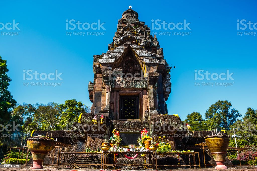 Stone castle Phra That Narai Cheng Weng and sky stock photo
