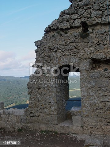Stone Castle Ruin Overlooking a Southern France ValleyWa