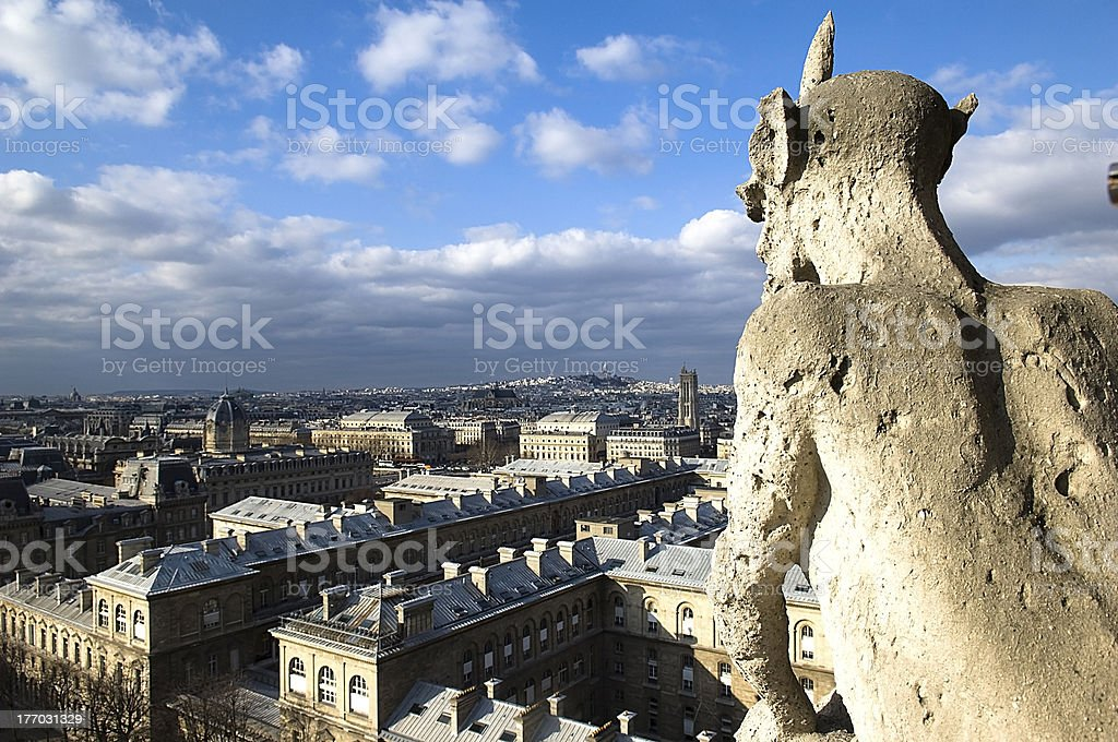 stone chimere of Notre-Dame royalty-free stock photo