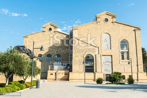 Baku, Azerbaijan - August 2, 2020. Stone Chronicle Museum on the seaside boulevard in Baku. The museum is dedicated to the history of stone plastics in Azerbaijan. Exterior view in summer.