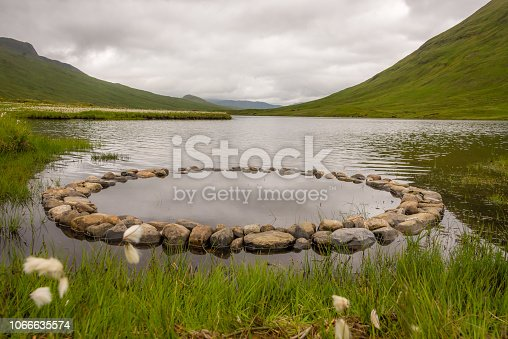 A small stone circle on the shores of a Loch in the Scottish highlands, near Inverness