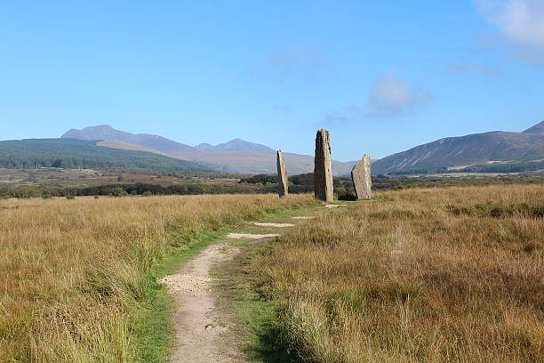 Stone Circle on Isle of Arran stock photo