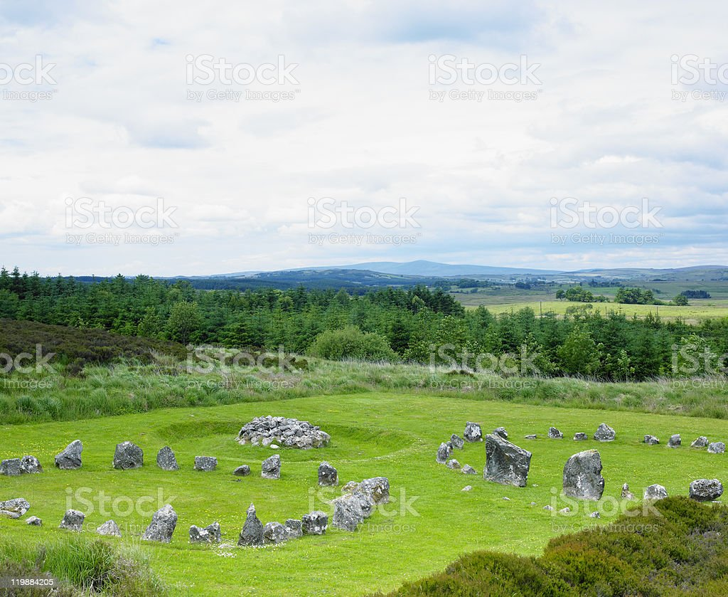 stone circles in Beaghmore stock photo