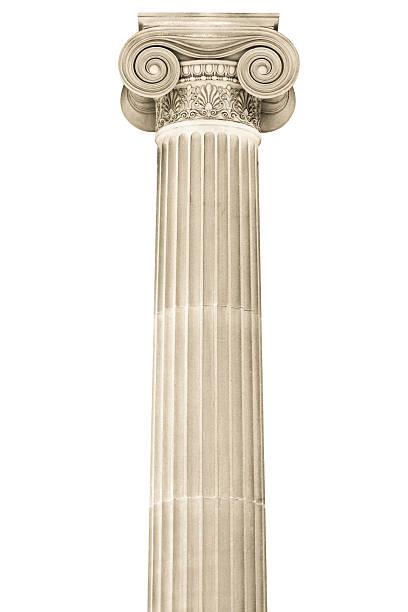 colonne classique de pierres isolé sur fond blanc - chapiteau colonne architecturale photos et images de collection