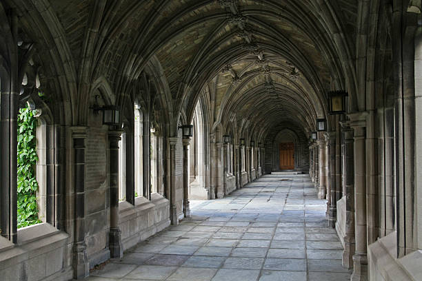 stone cloister - cambridge university stock photos and pictures