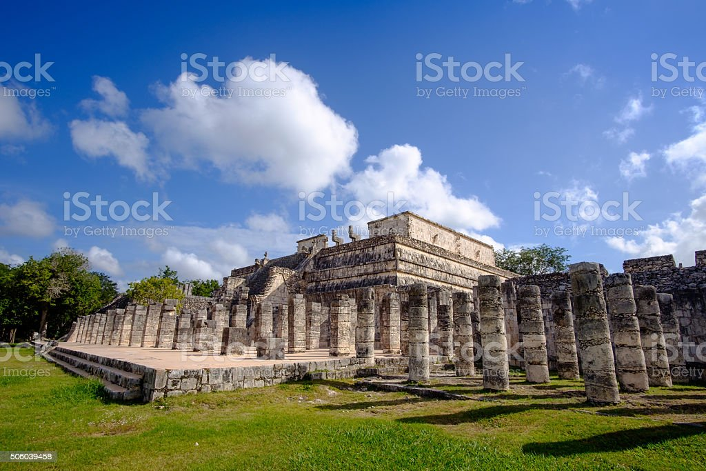 Stone columns and pilars in famous archeological site Chichen It stock photo