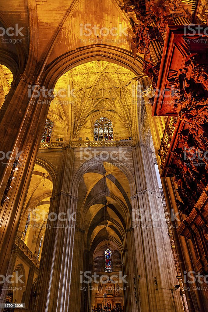 Stone Columns Cathedral Saint Mary Seville Spain royalty-free stock photo