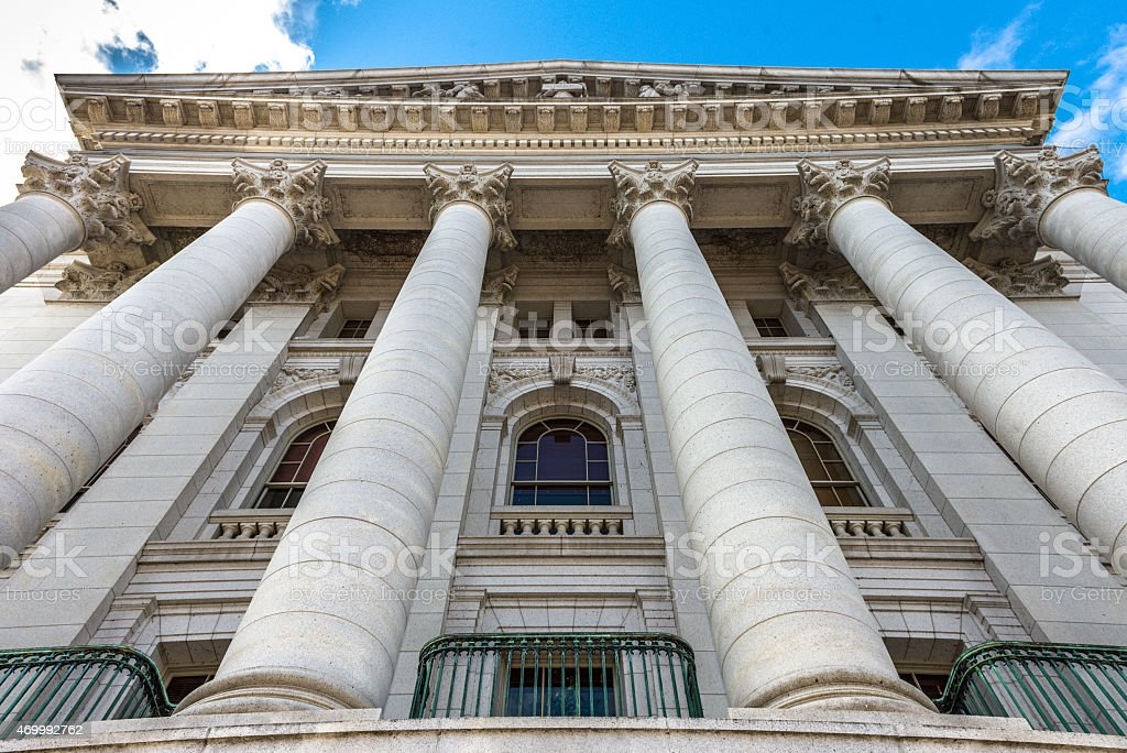 Stone columns of WI State Capital Building stock photo