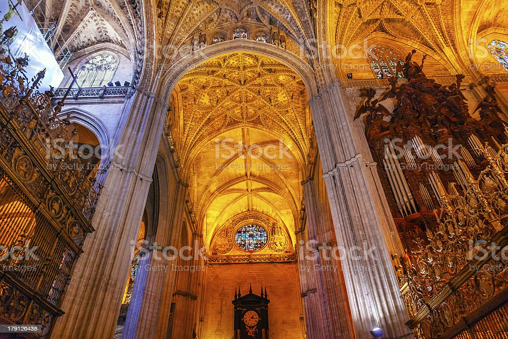 Stone Columns Organ Cathedral Saint Mary Seville Spain royalty-free stock photo