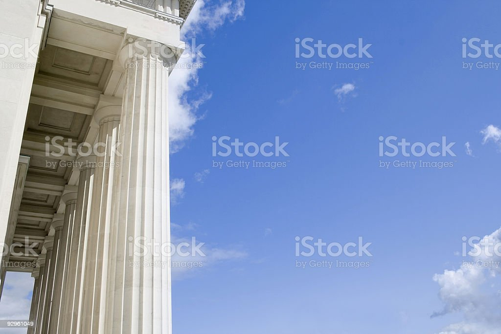 Stone Columns with Blue Sky stock photo