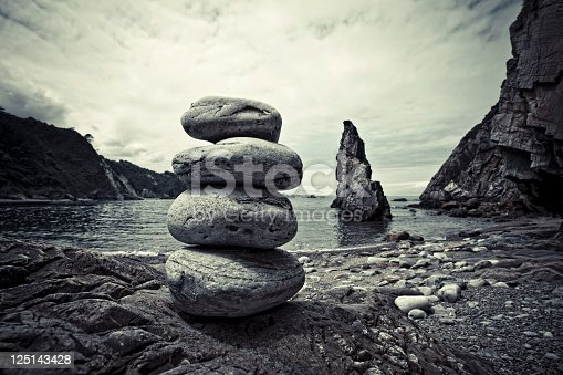 Stone composition on the rocky beach.