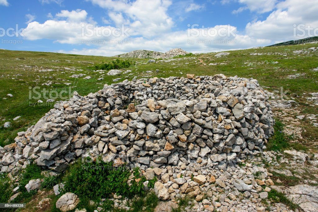 A stone construction on mountain plateau stock photo