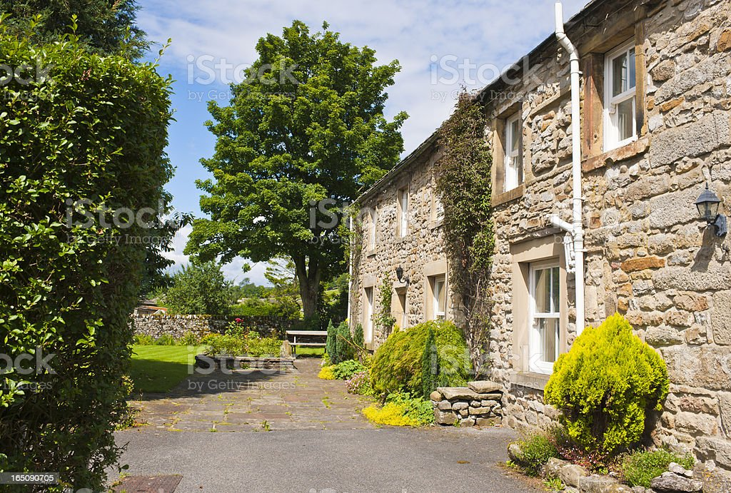 Stone Cottages in Yorkshire Dales Village of Kettlewell royalty-free stock photo