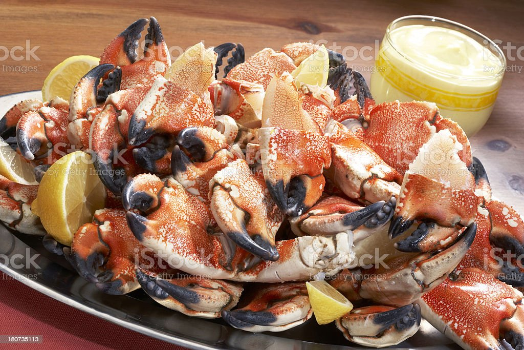 stone crab plated for dinner stock photo