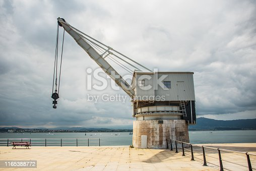 Stone Crane (Grúa de Piedra) in Santander, Spain. This old crane once served Santander port, now is restored and placed in the city's promenade.