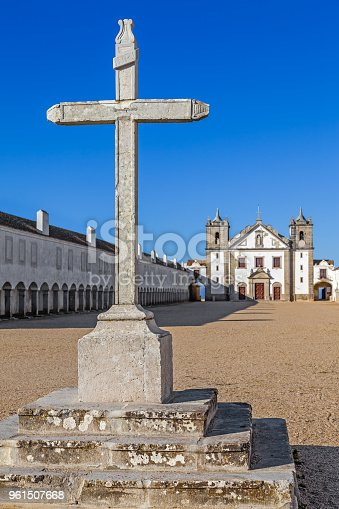 Stone Cross in front of the Church and Pilgrim lodgings of the Sanctuary of Nossa Senhora do Cabo. Espichel Cape, Sesimbra, Portugal