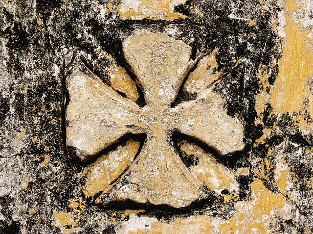 stone cross a engraved cross in a church stone wall Amen stock pictures, royalty-free photos & images