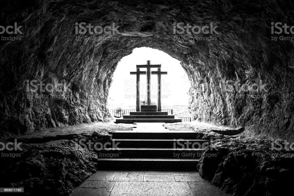 Stone crosses. stock photo