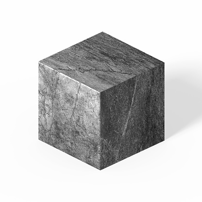 Textured stone cube isometric on white background with clipping path