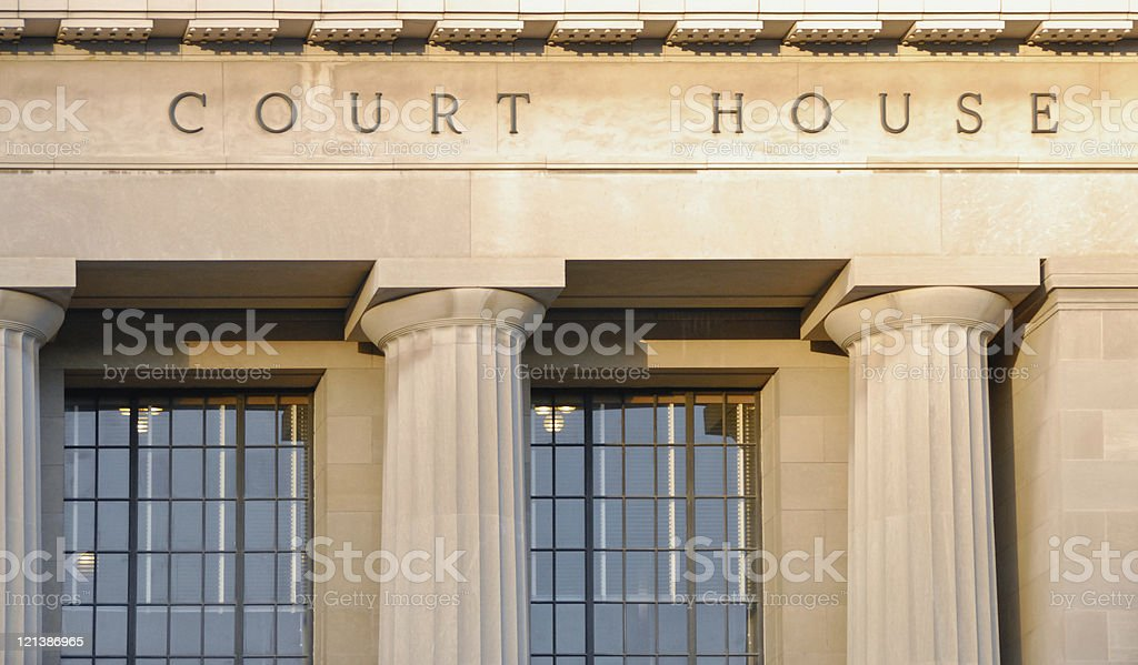 Stone Facade Detail of Historic American Court House royalty-free stock photo
