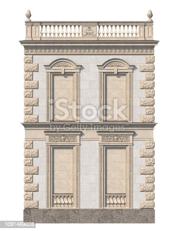 Facade of a classic house with niches in light colors. 3d rendering