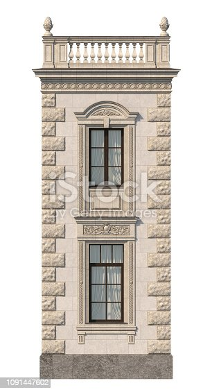 House in a classic style with a stone fasade in beige tones. 3d rendering