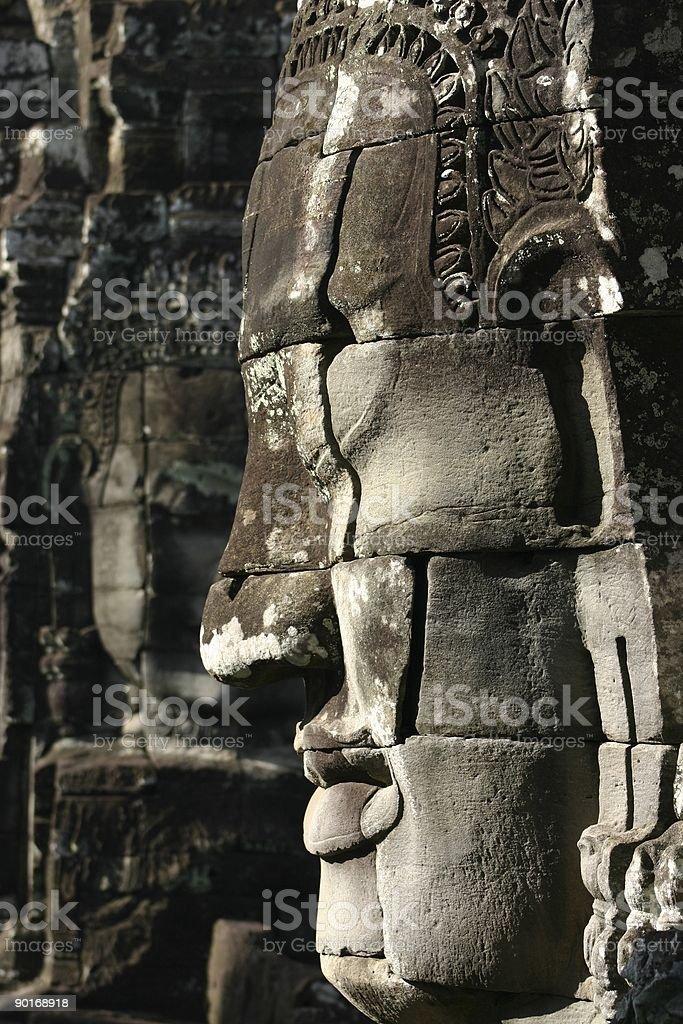 Stone Face of Bayon Temple, Angkor, Cambodia. royalty-free stock photo