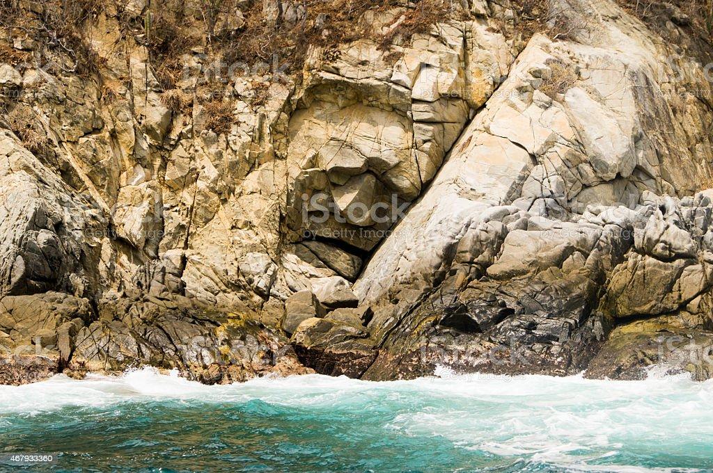 Stone Face. Cara de Piedra, Bahías de Huatulco. Organo Bay stock photo