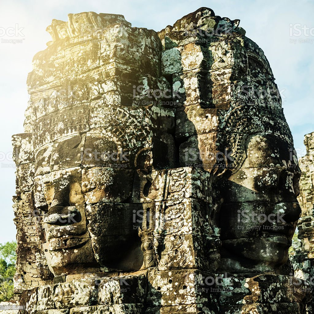 Stone Faces Angkor Thom, Cambodia stock photo