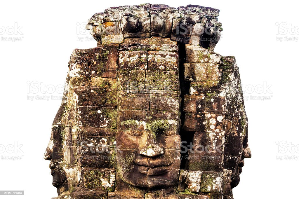 Stone Faces at Bayon Temple Isolated on White, Angkor, Cambodia stock photo