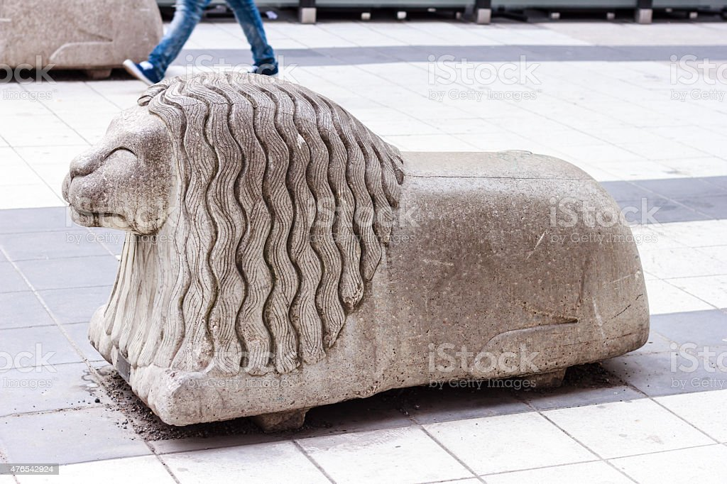 Stone figure of a lion stock photo