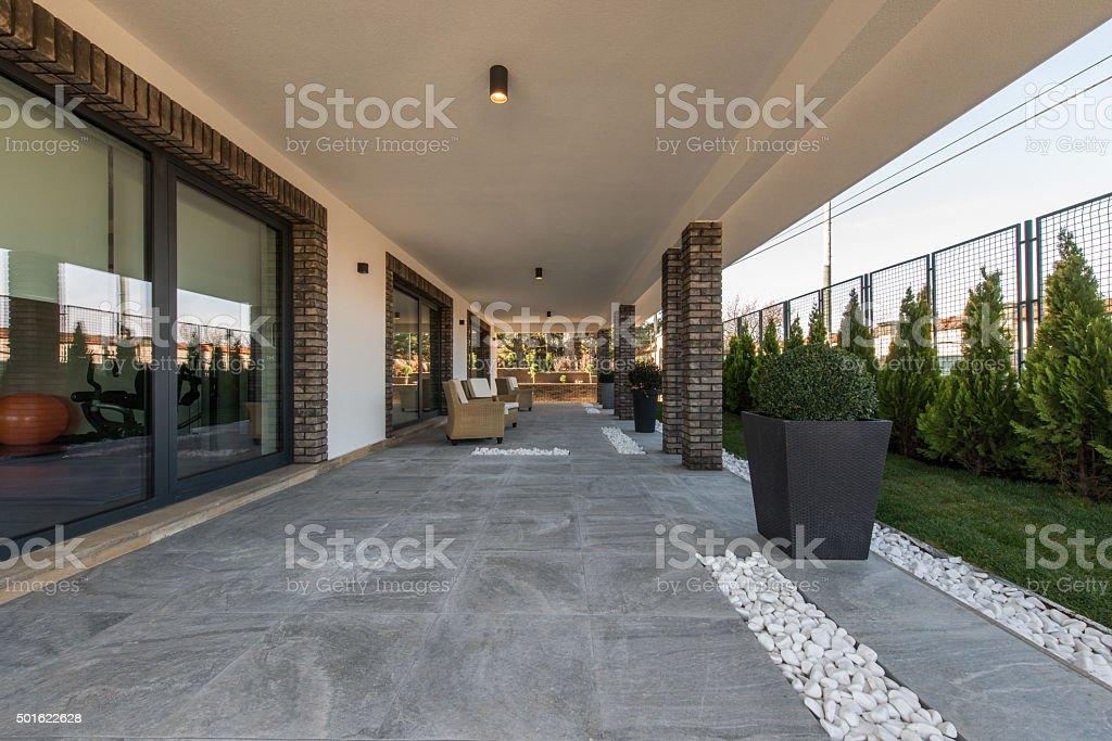 Stone fllor on luxury open terryce stock photo