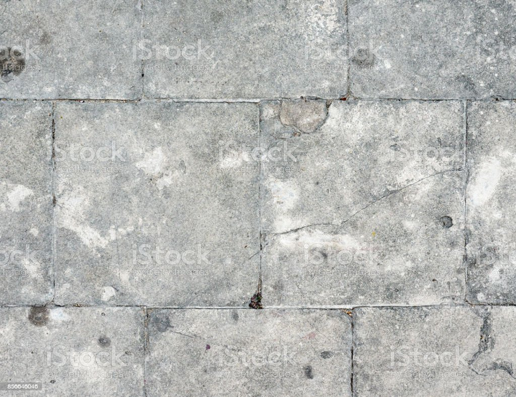 Stone floor tiles with the crack. stock photo