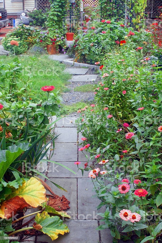 Stone, Flower-Lined Path in a Garden stock photo