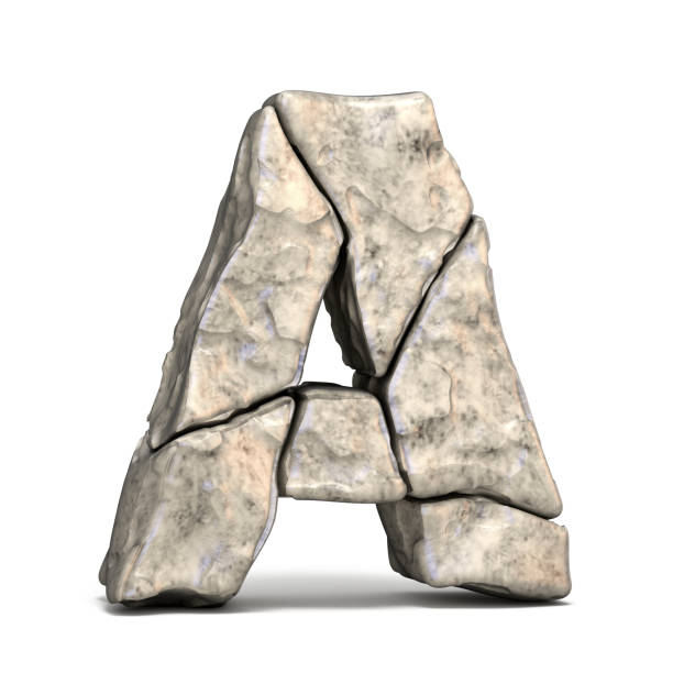 stone font letter a 3d - stone font stock photos and pictures