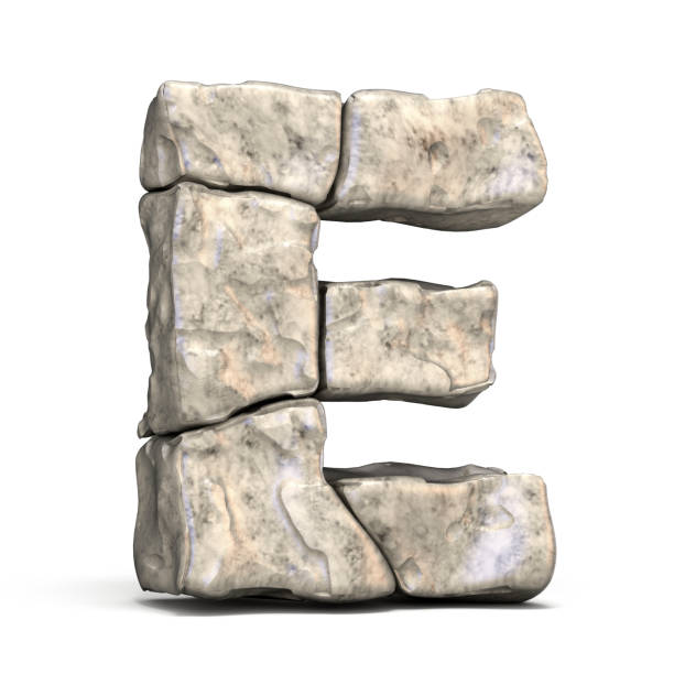 stone font letter e 3d - stone font stock photos and pictures
