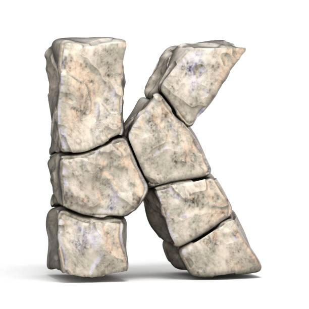 stone font letter k 3d - буква k стоковые фото и изображения