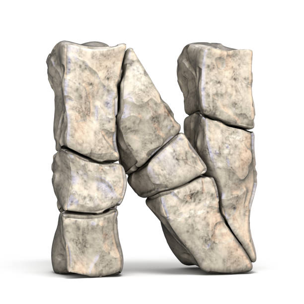 stone font letter n 3d - stone font stock photos and pictures