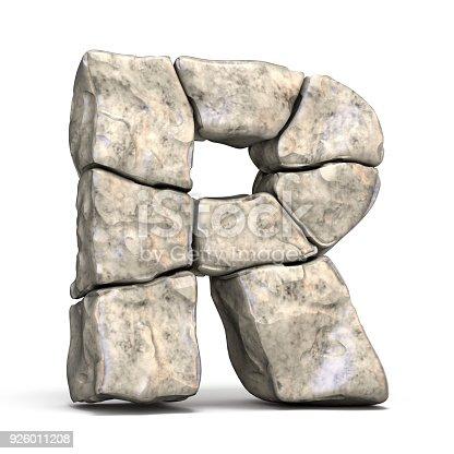 583978558istockphoto Stone font letter R 3D 926011208