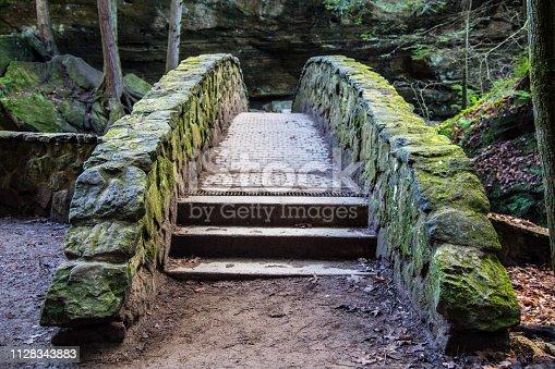 istock Stone Footbridge In Woods At Hocking Hills 1128343883