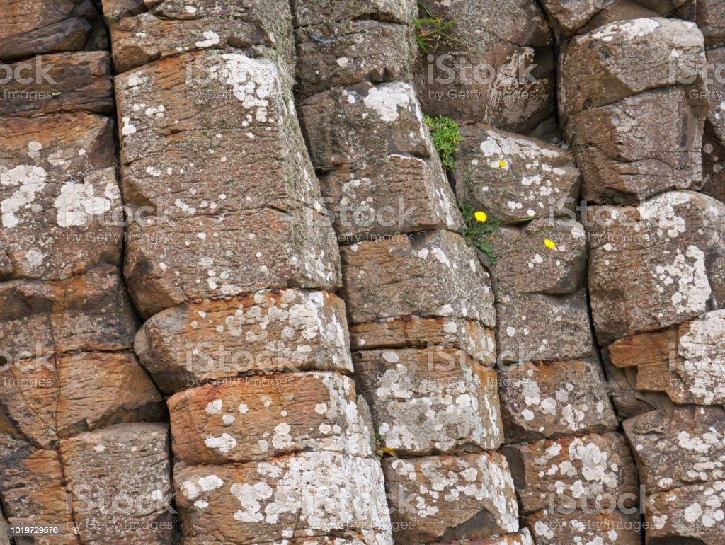 Stone formation of angular stones on the coast of Northern Ireland stock photo