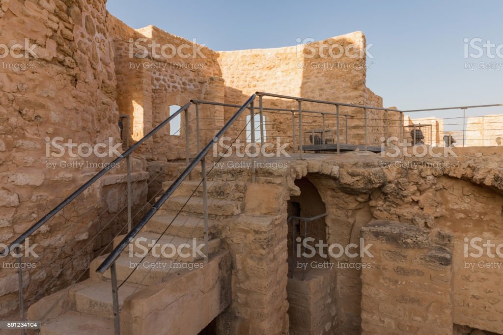 Stone fortress Ribat with a tower in the city of Monastir. Tunisia stock photo