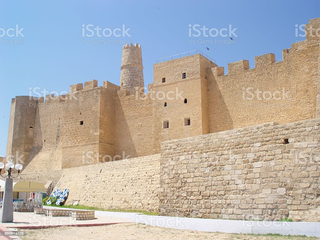 Stone fortress (ribat) with a tower in the city of Monastir stock photo
