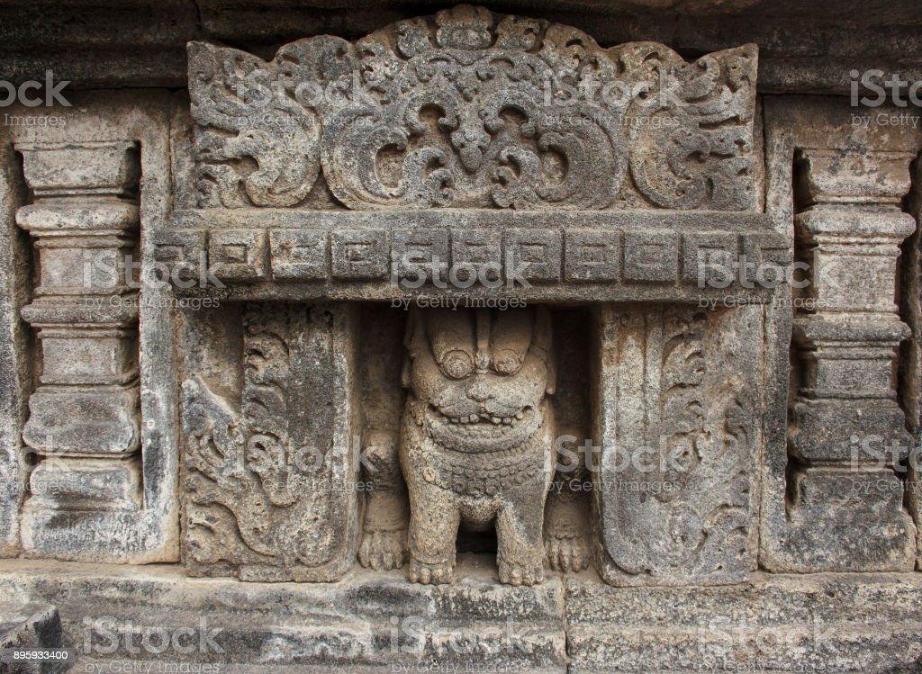 Stone frescoes of Ancient Hindu temple Prambanan. The island of Java. Indonesia. stock photo