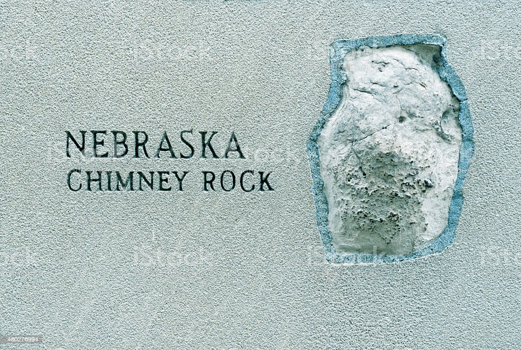 Stone from Chimney Rock embedded in Chicago tower stock photo