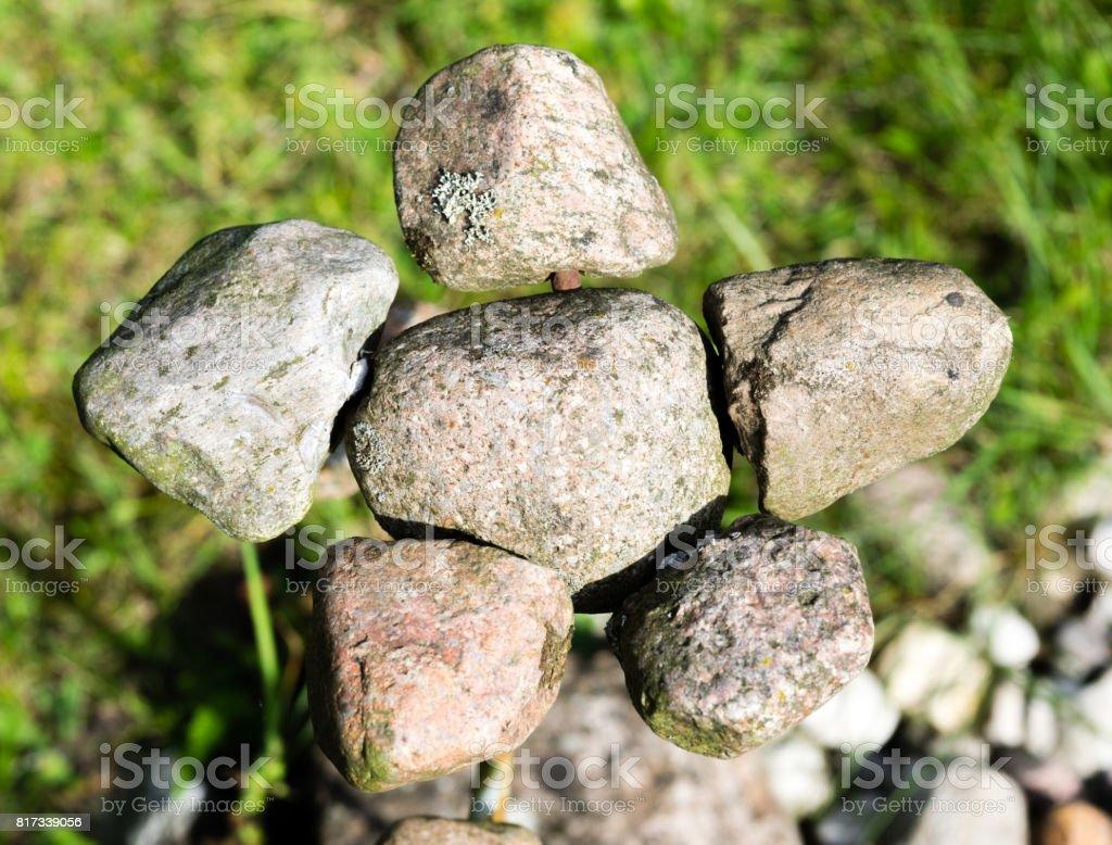 stone garden decoration stock photo
