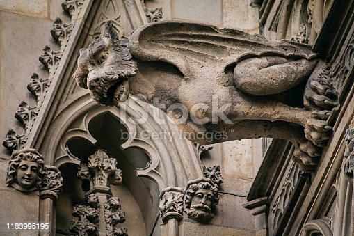 Stone gargoyle, decoration of the cathedral of Barcelona