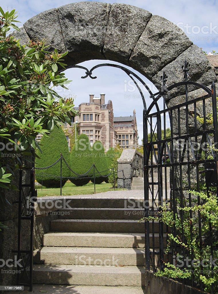 Stone gate entrance to castle Tjolöholm royalty-free stock photo